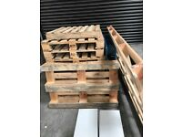 12 wooden pallets for sale, various sizes