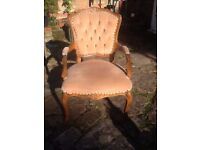 Queen Anne style velour/wood armchairs x 2