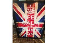 Keep calm and carry on union jack British flag canvas / art / artwork