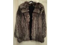 Silver Real Fur Fox Fur Jacket Size 12-16 Gorgeous Coat