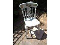 Lovely Vintage shabby chic vintage decoupaged cottage chair for bedroom or kitchen