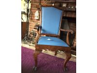 A Large Queen Anne Style sold wood RE-UPHOLSTERED CHAIR IN a nice light blue