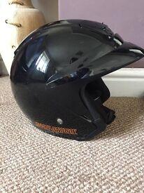 Harley Davidson Half Helmet. Size L 60. Wear with or with visor, has removable peak.