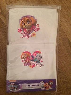 BNIP 2 Pack PAW PATROL Girls Vests 100% Cotton Skye and Everest Age 3-4 yrs