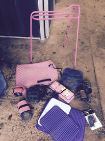Pony rugs (5'6, 5'9, 6'6, 3'6, 3'9), tack and rider clothing