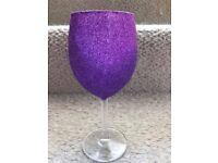 6 x Purple Glitter Glasses - New and Unused