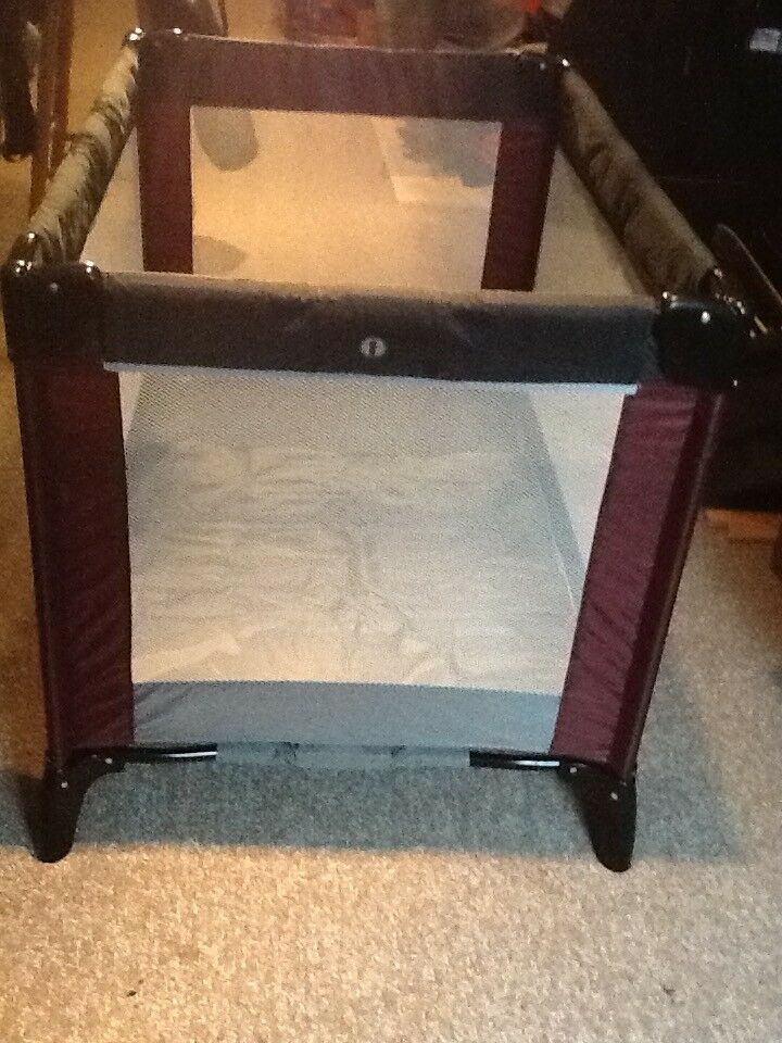Mamas and Papas travel cot - plum and grey colour - as new condition
