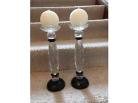 Stunning 2 x Black and Clear Crystal candle holders