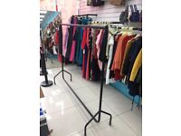 6ft Garment Clothes Rail Super Heavy Duty All Metal Black Tall large Big Shop fitting Display Hanger