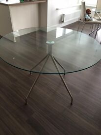 Dwell Palermo glass round dining table