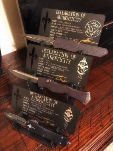 3 tier Microtech Marfione custom display rack ultratech Combat Troodon Cypher