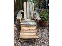 Two Adirondack-style Garden Chairs with pull-out footrest
