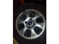 Set of Genuine 4 Ford fiesta 14 alloy wheels & winter tyres ( + new front wiper blades as bonus)