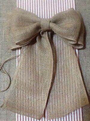 Wedding Pew Bows (Burlap Pew Bow Rustic Wedding Vintage Chic Primitive Wreath)