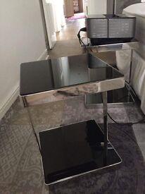 2 glass black bedside tables