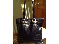 Jaeger navy leather bag