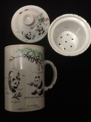 10 Chinese Porcelain Tea Cup Handled Infuser Strainer Lid 10 oz Panda White Cup