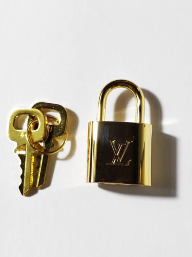 Louis Vuitton LV Logo Replacement Gold Charm Key Padlock Set Brass Metal Necklac