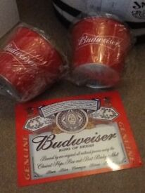 Budweiser buckets and large sign