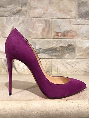 NIB Christian Louboutin Pigalle Follies 100 Purple Cassis Suede Pump Heel 38