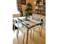 4 x designer Pedrali vintage chairs & large glass/silver extending dining table