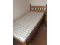 Antique Pine single bed and matching night table