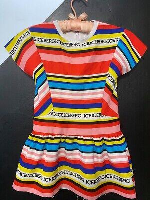 ICEBERG MADE IN ITALY KIDS GIRL'S SHORT SLEEVE LOGO RAINBOW STRIPED DRESS 116 6