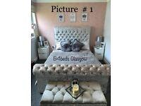 DOUBLE or KING SIZE CRUSH VELVET / PLUSH VELVET DIAMOND SLEIGH BED