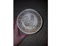 Hand burnt pyrography cockerel design box - one of a kind