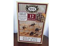 NEW IN ORIGINAL BOX RTA SOLID PINE WINE RACK 12 BOTTLE