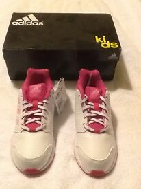 Adidas lk sport 2 girl's trainers in white & pink size 2