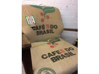 Revamped Coffee Bean Hessian Retro Chair for sale