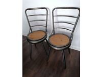 Set of 2 bistro industrial style chairs stools metal wood folding outdoor garden patio