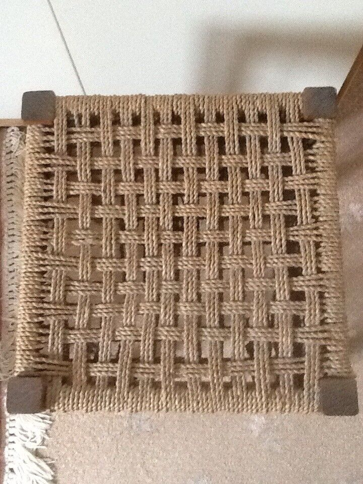 "Retro rattan stool, approximately 12"" square, 18"" high. Good condition."