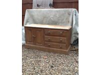 Pine tv unit with cupboard and drawers