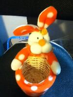 Orange and White Easter Bunny Holder