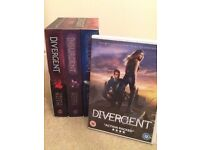 "The complete ""Divergent"" trilogy in its box + ""Divergent"" DVD. Perfect condition."