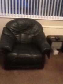 Sofa and armchair Green Leather