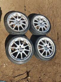10 SPOKE 4X100 ALLOYS VW GOLF MK2 E30 CITREON PEUGEOT POLO SPLIT RIM DEEP DISH