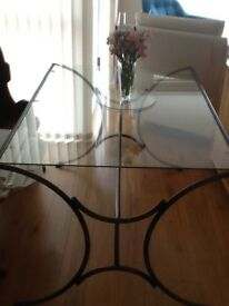 Glass Dining Room Table & matching wine rack