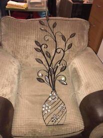 For Sale: Wall Art Metal & Jewelled Flower in Vase.