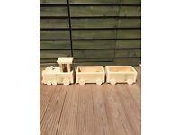 wood train garden planter