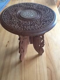 Small Carved and Inlaid Hardwood Table