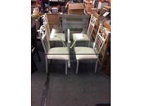 Cream Iron Glass Table & 4 Iron Chairs