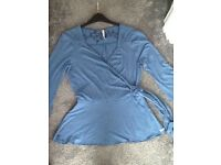 White stuff top, blue, size 14, worn once