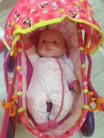 Minni mouse pram & doll