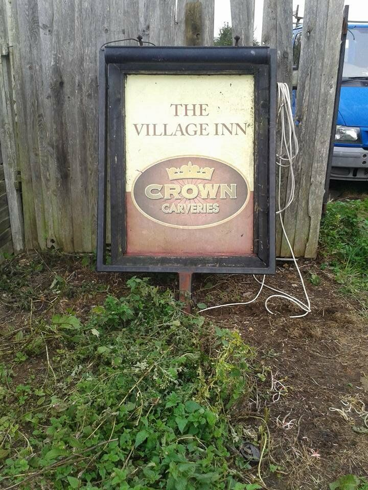 Large former pub sign,4 and a half feet by 3.Light both sides.