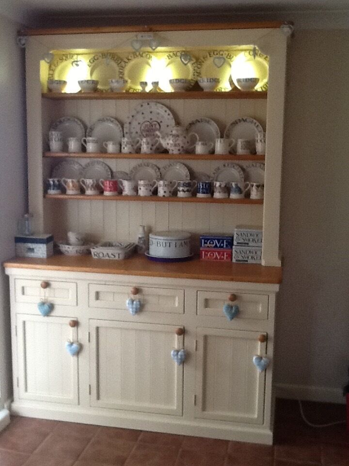 """Dresser cream and pinein Norwich, NorfolkGumtree - Dresser home made very solid 63"""" width 25""""depth 91""""height with lights in the top, comes in 2 parts £450 Ono tel 01508538560"""