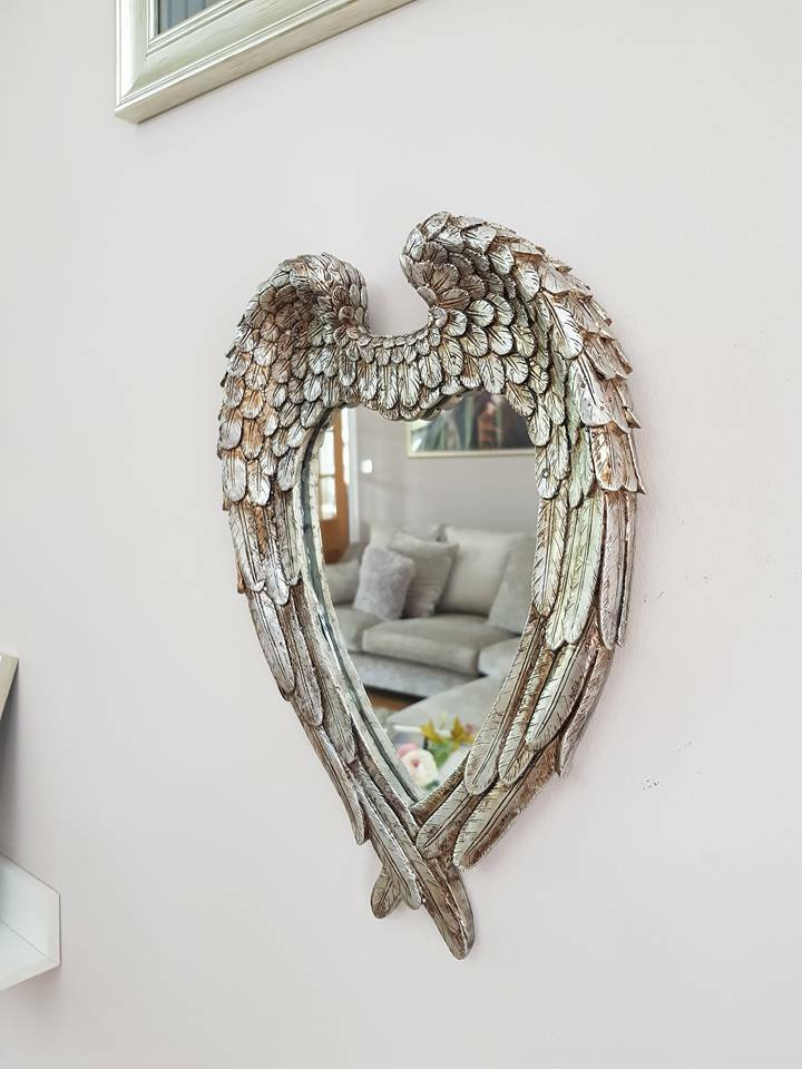 mirror - Large Vintage Antique Style Wall Mirror Ornate Shabby Chic Angel Wings Silver