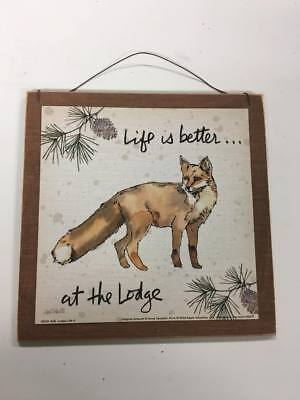 Life is better at the lodge fox cabin log home theme decor wooden wall art (Best Log Cabin Homes)